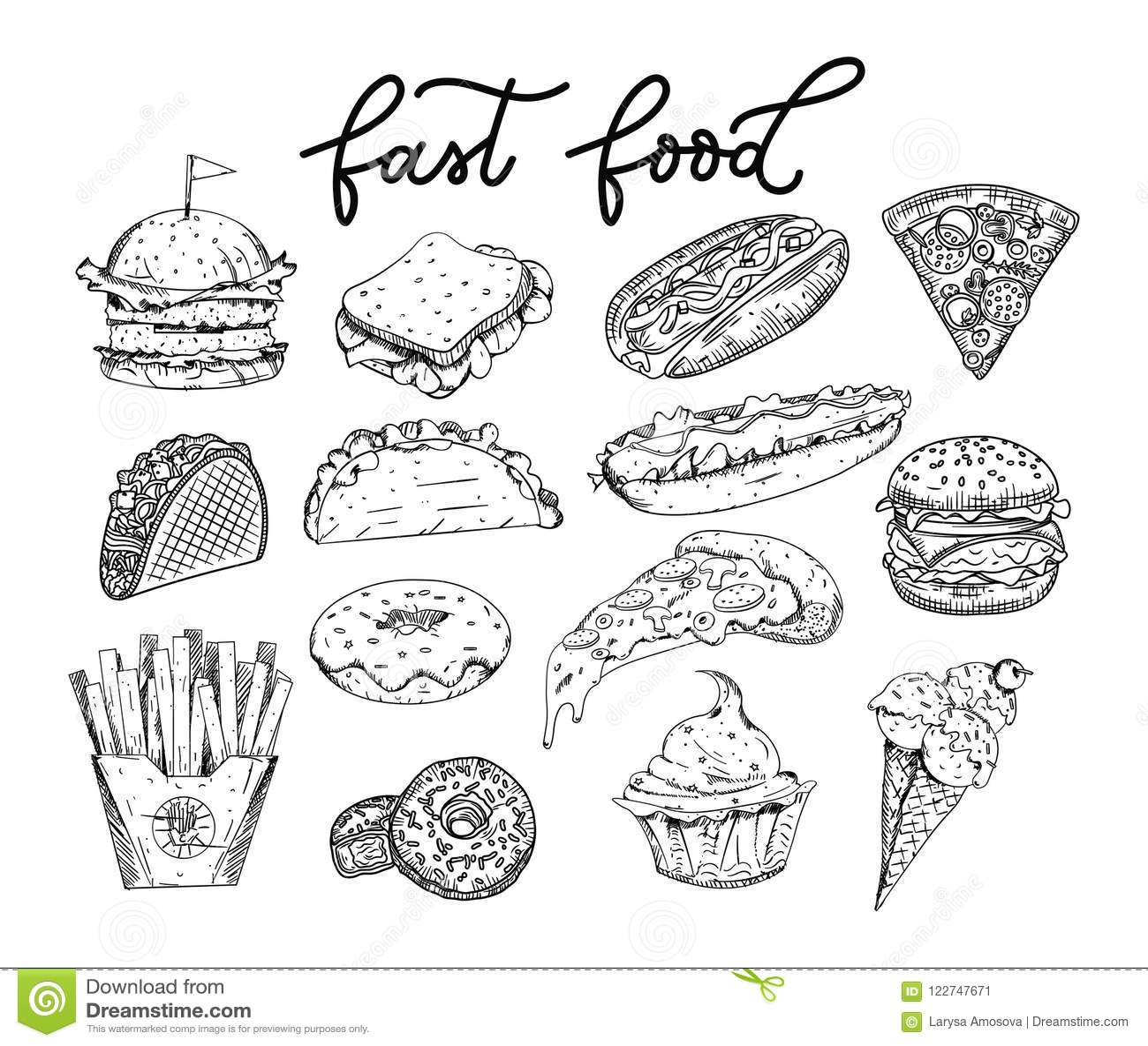 大套速写的快餐元素 汉堡,炸玉米饼,薄饼sli