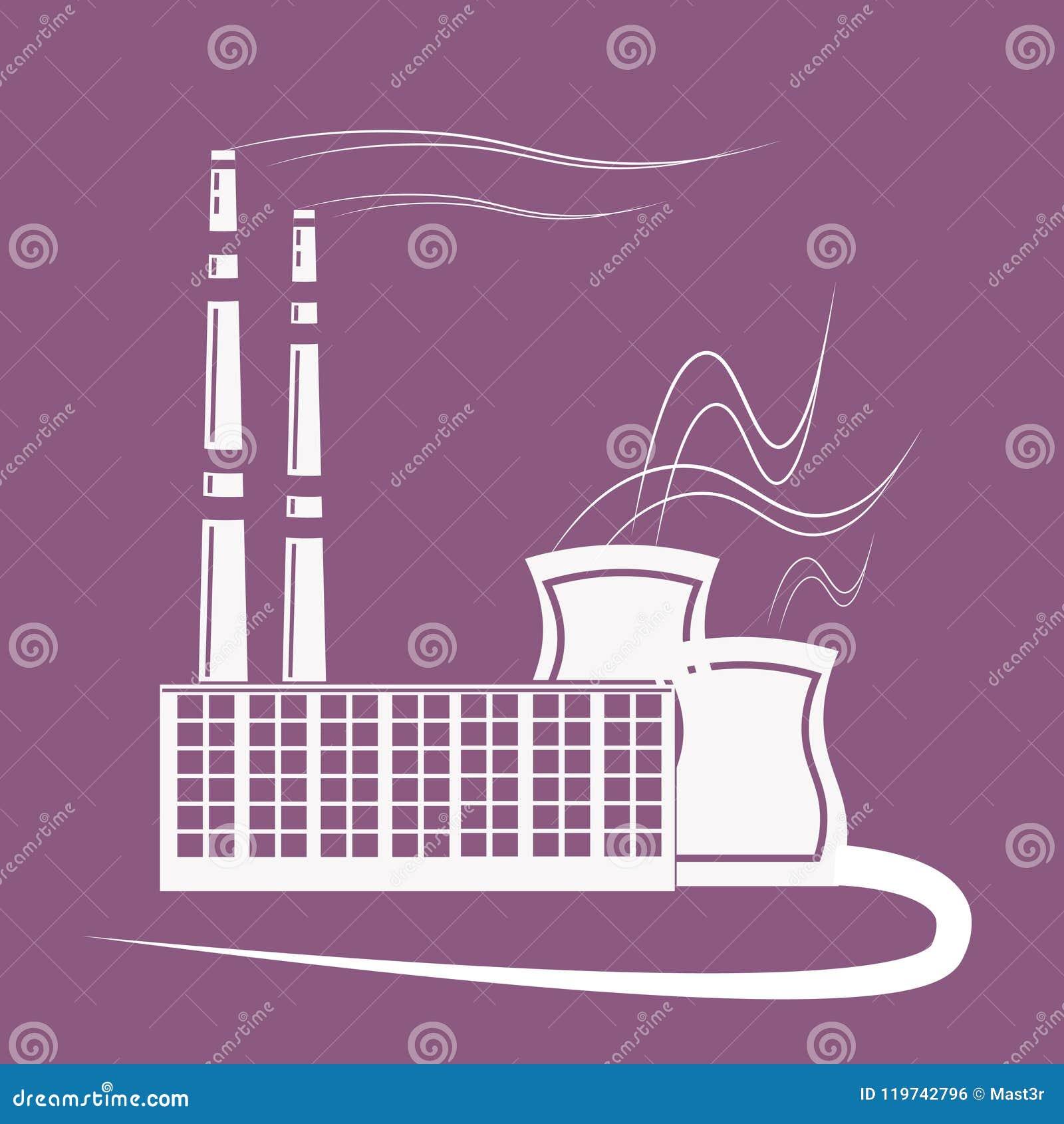 大工厂,有放射的植物平展抽在紫罗兰色背景的气管