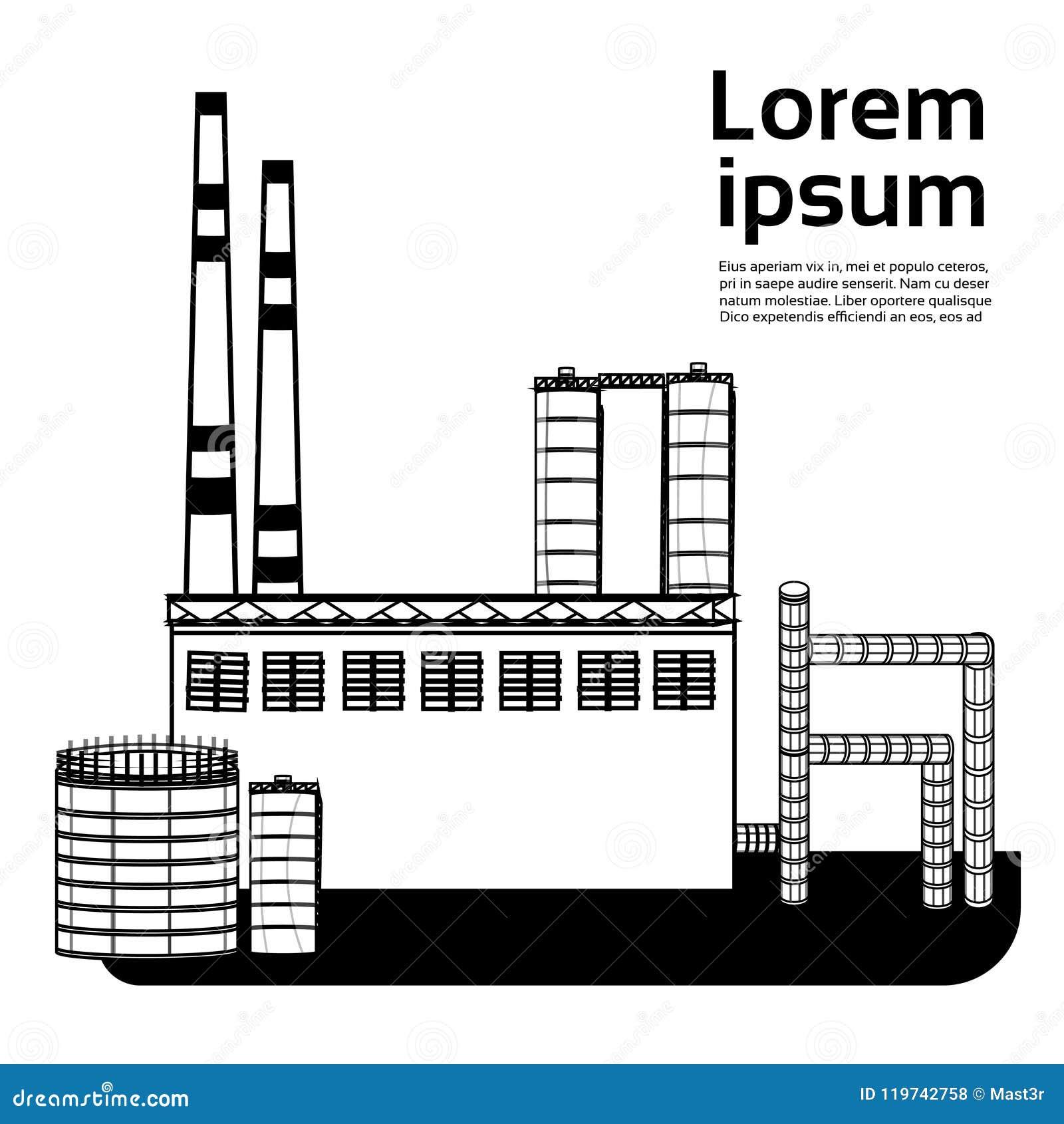 大工厂,有放射的植物抽在白色背景平的拷贝空间的气管