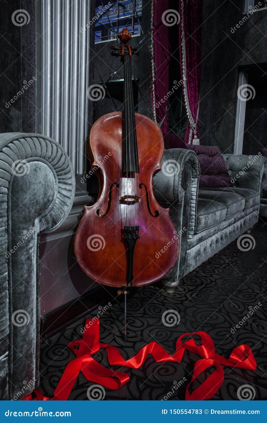 大提琴和红色丝带在灰色长沙发