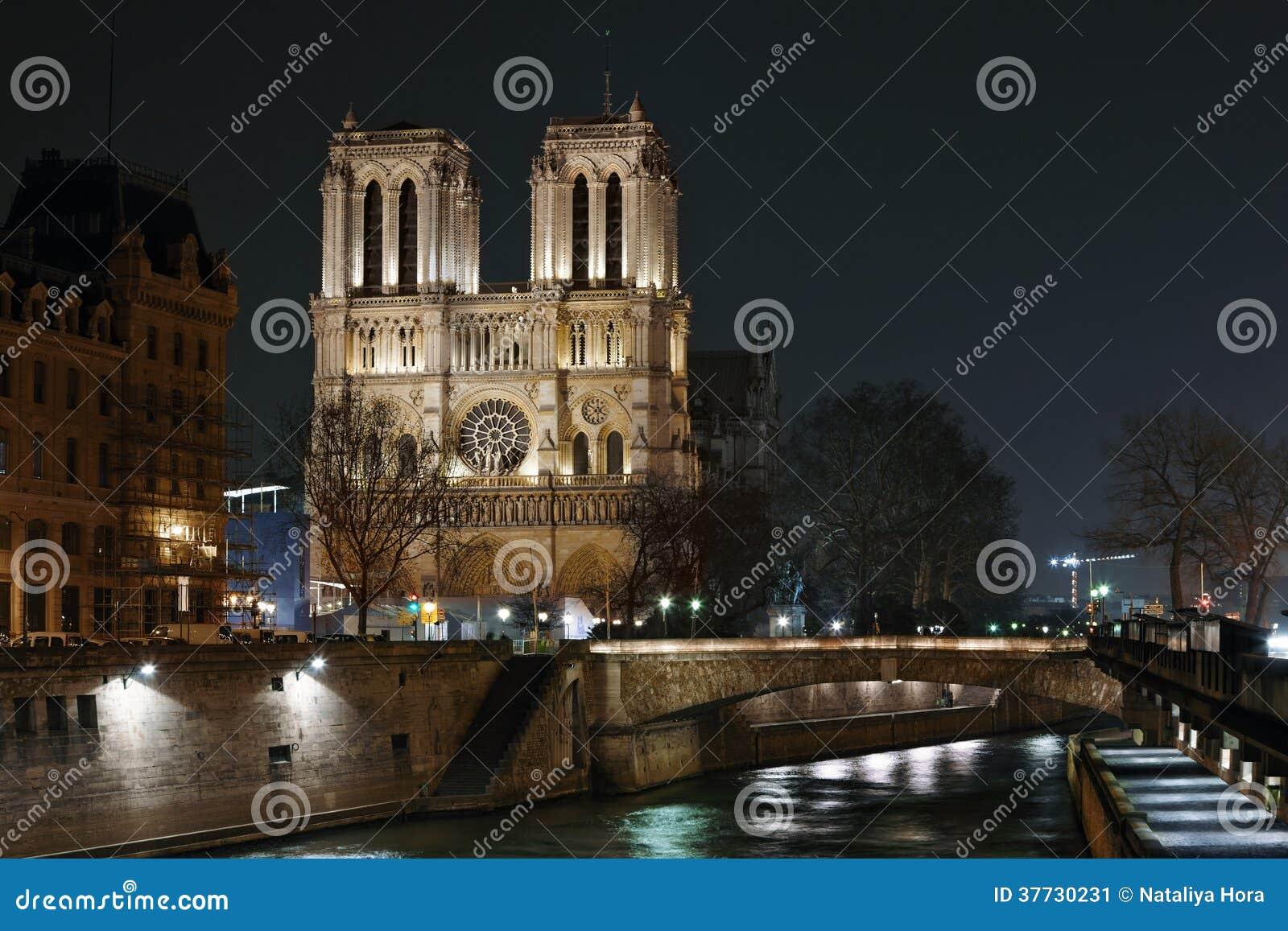 大教堂巴黎圣母院夜视图.