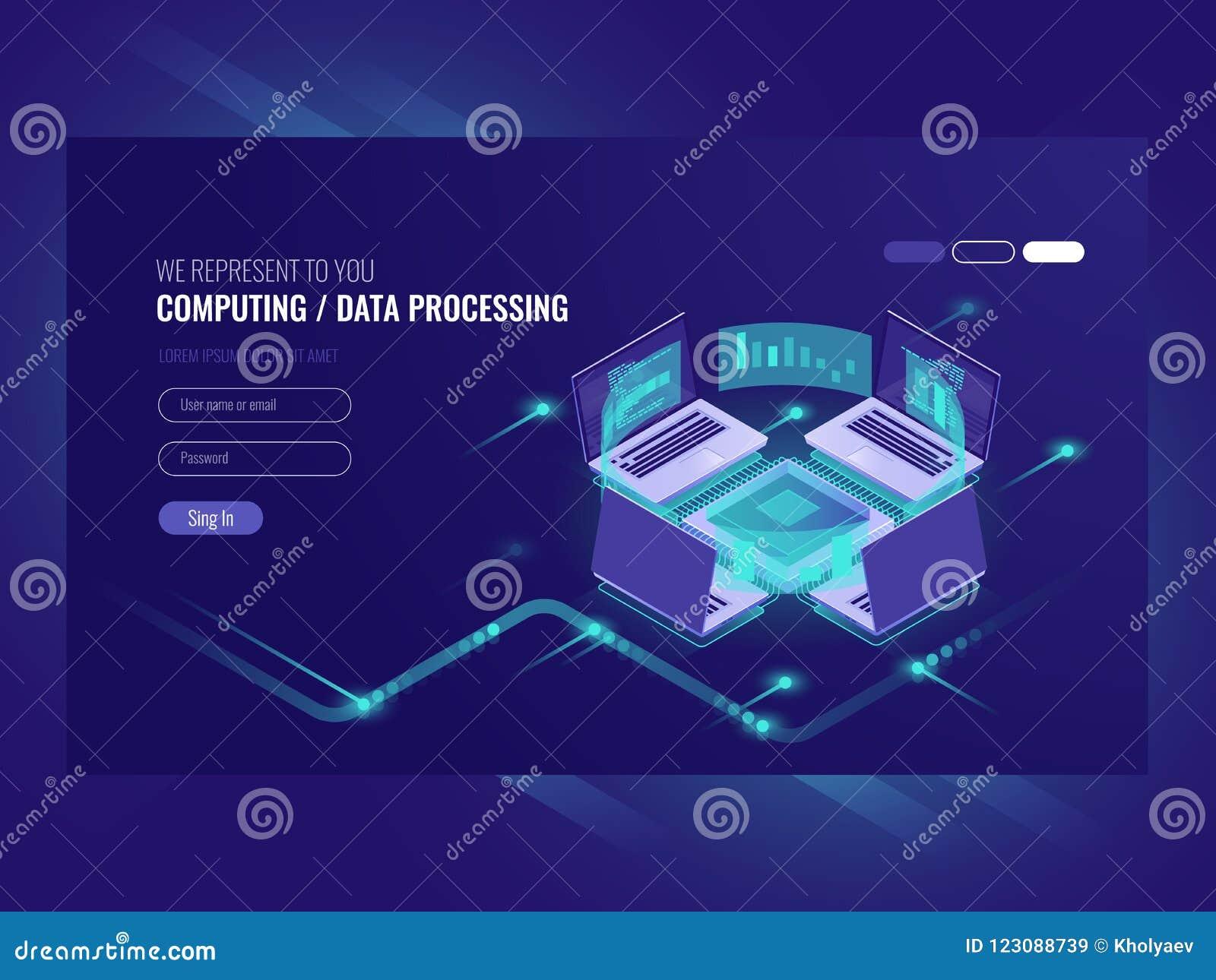 大数据处理和计算的过程,服务器室,网络主持vps服务器室,数据库等量传染媒介黑暗