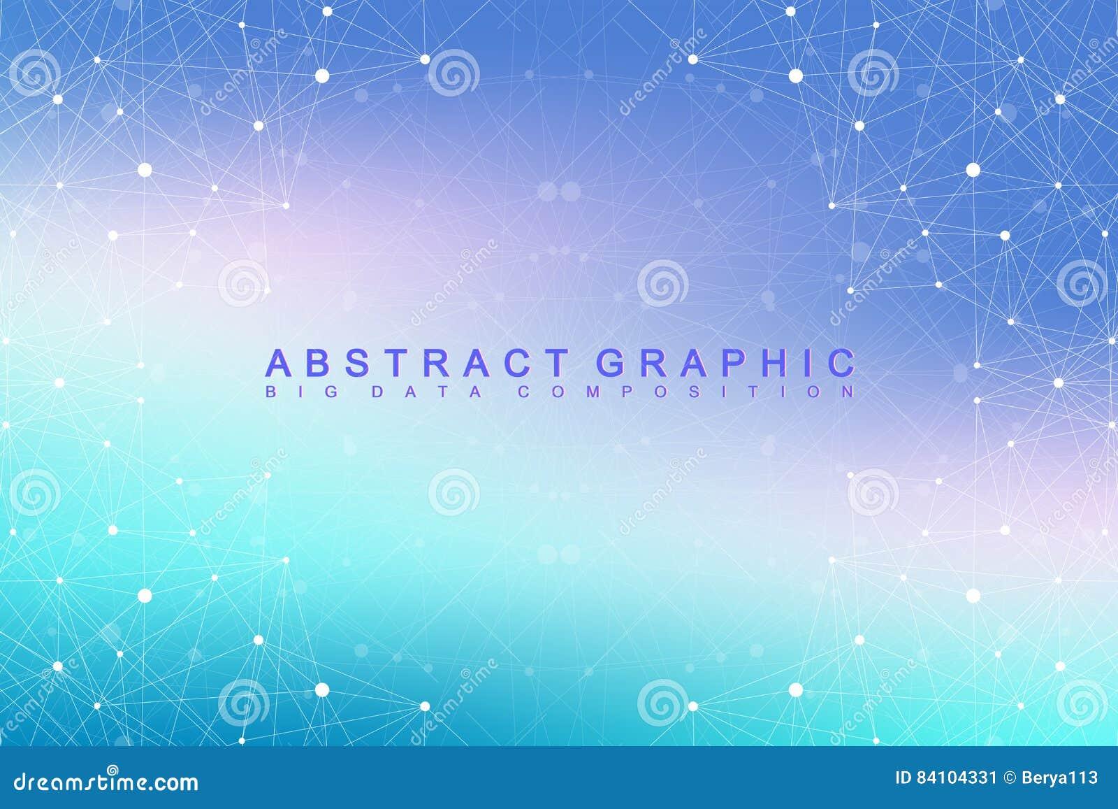 大数据复合体 图表抽象背景通信 深度透视背景  与化合物的最小的列阵