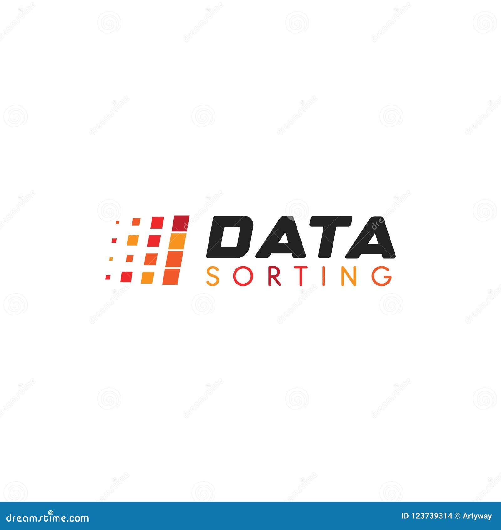 大数据库传染媒介象征 排序几何象的数据 排序抽象商标的信息 简单的数字技术
