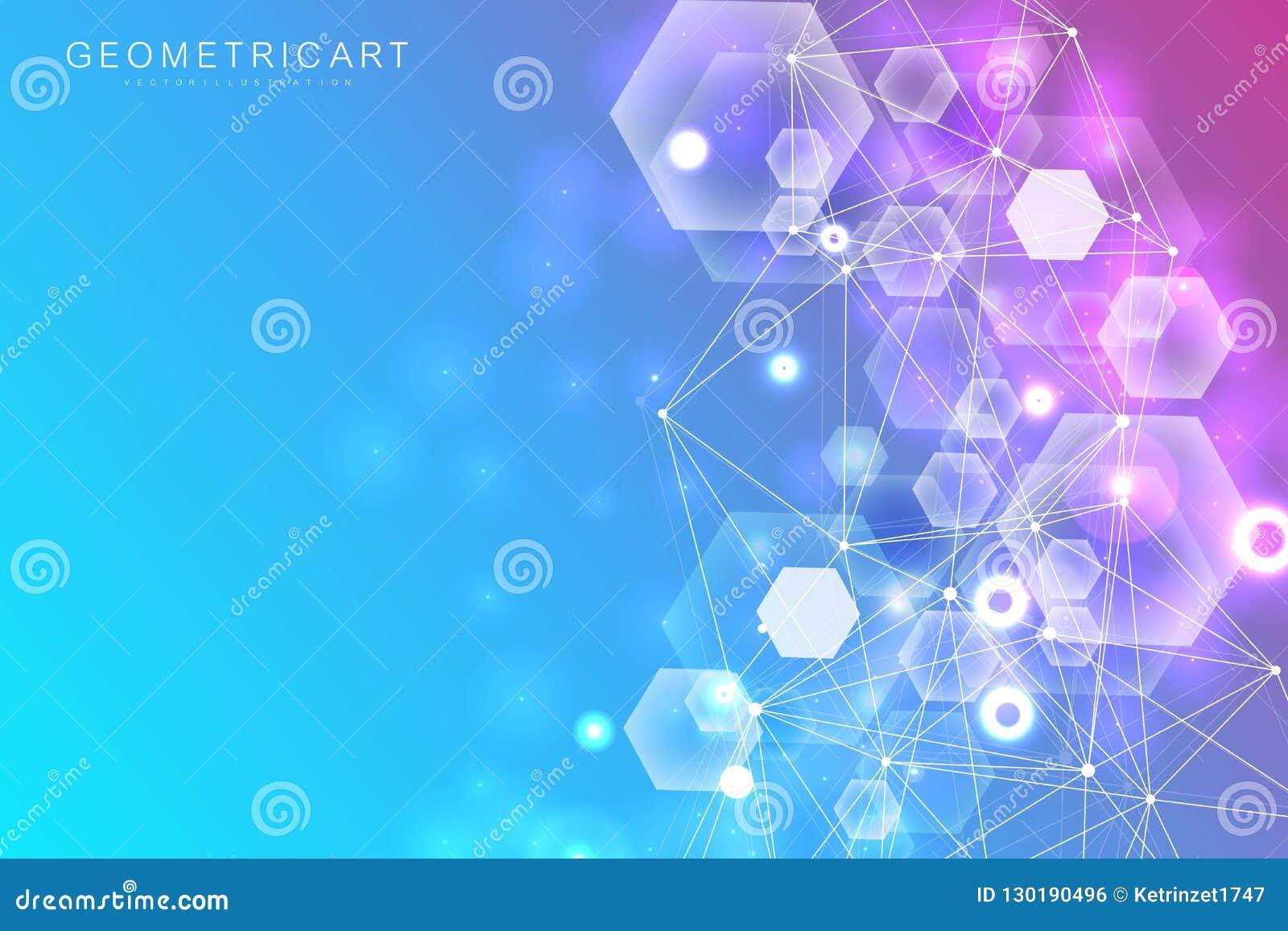 大数据形象化背景 现代未来派真正抽象背景 科学网络样式,连接