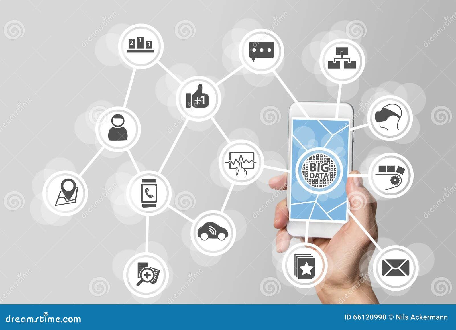 大数据概念为了分析大容量从被连接的移动设备的数据 拿着在白色backgro的手巧妙的电话