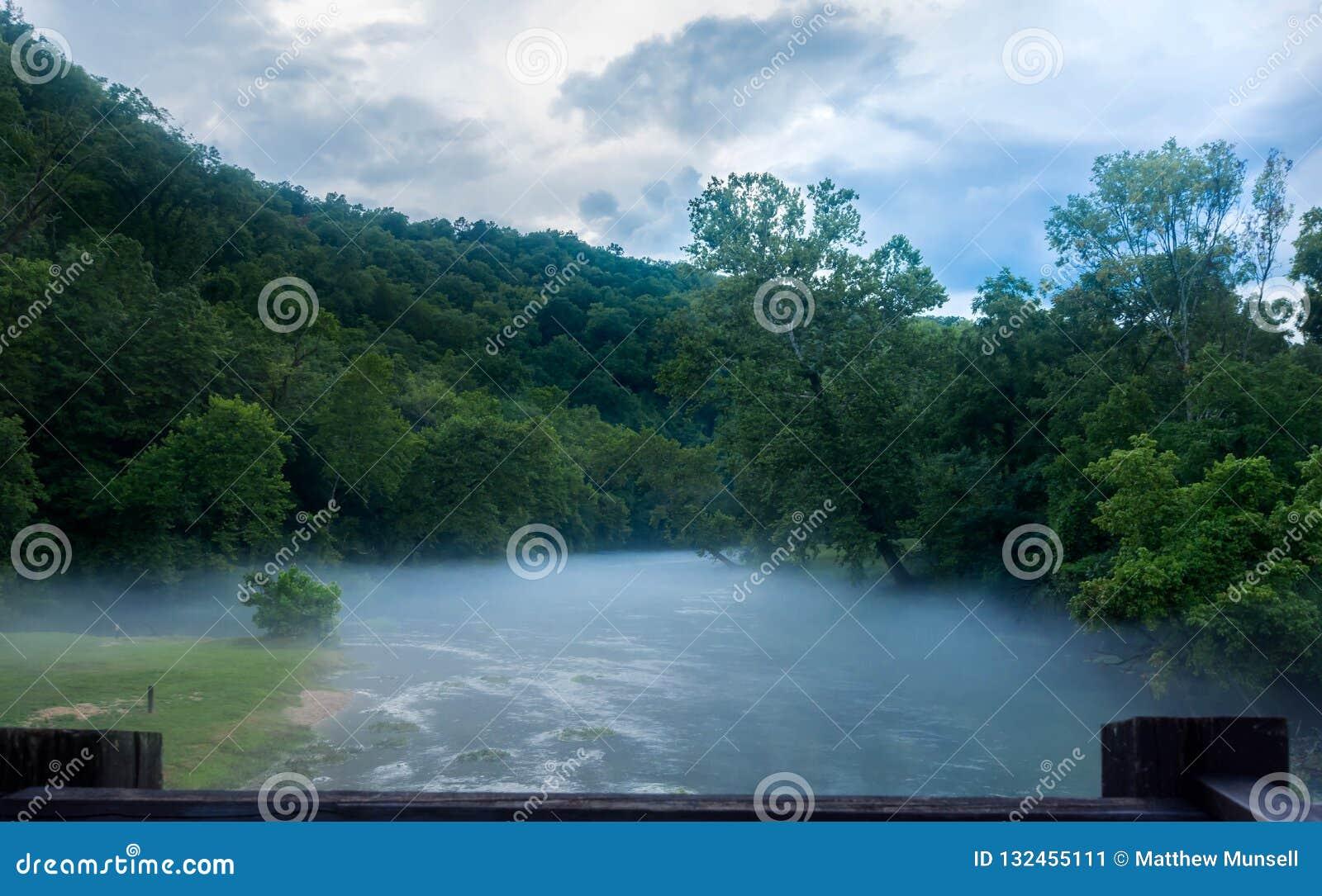 大春天的有薄雾的雾嘴在密苏里分支
