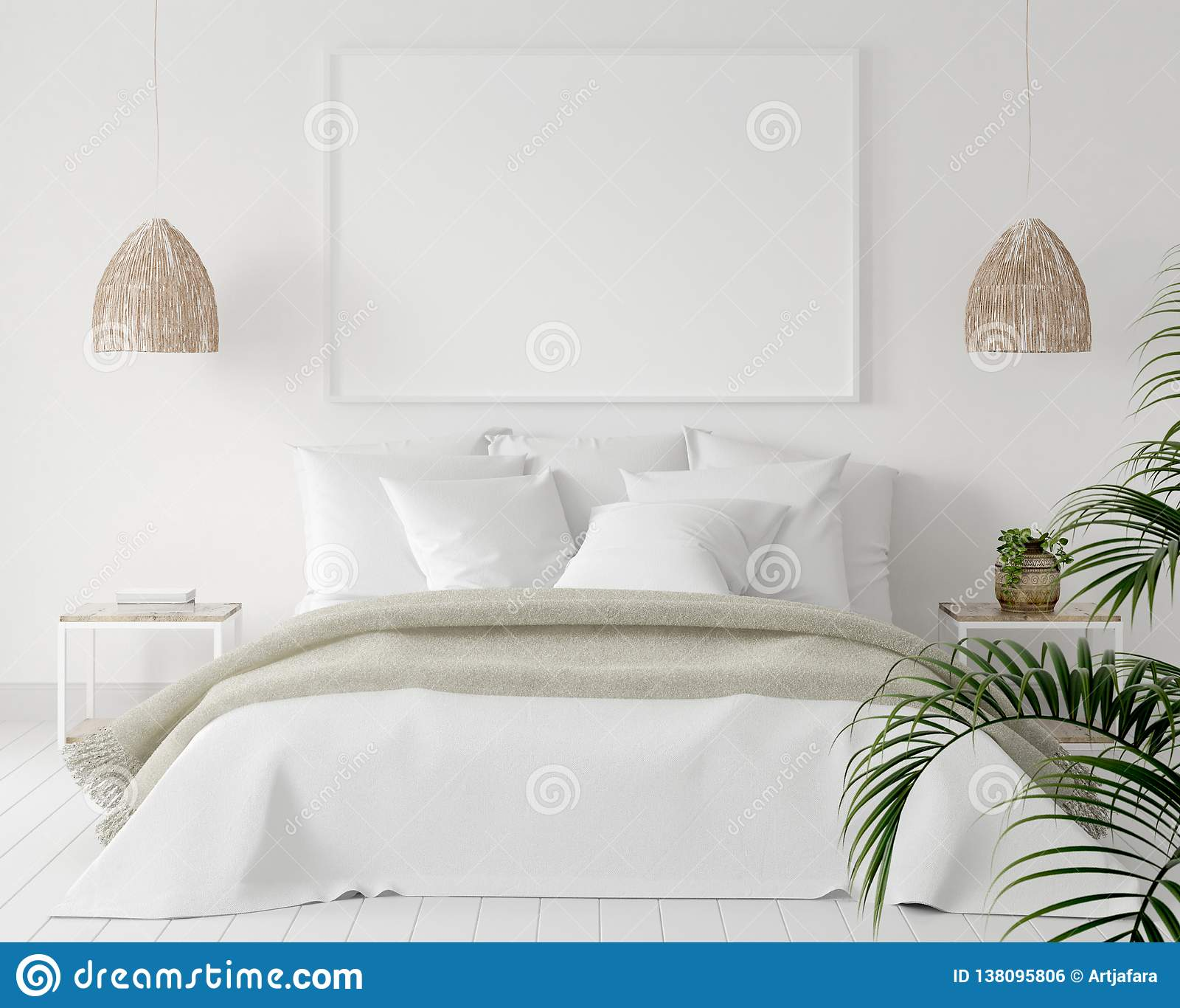 大模型海报框架在卧室,斯堪的纳维亚样式