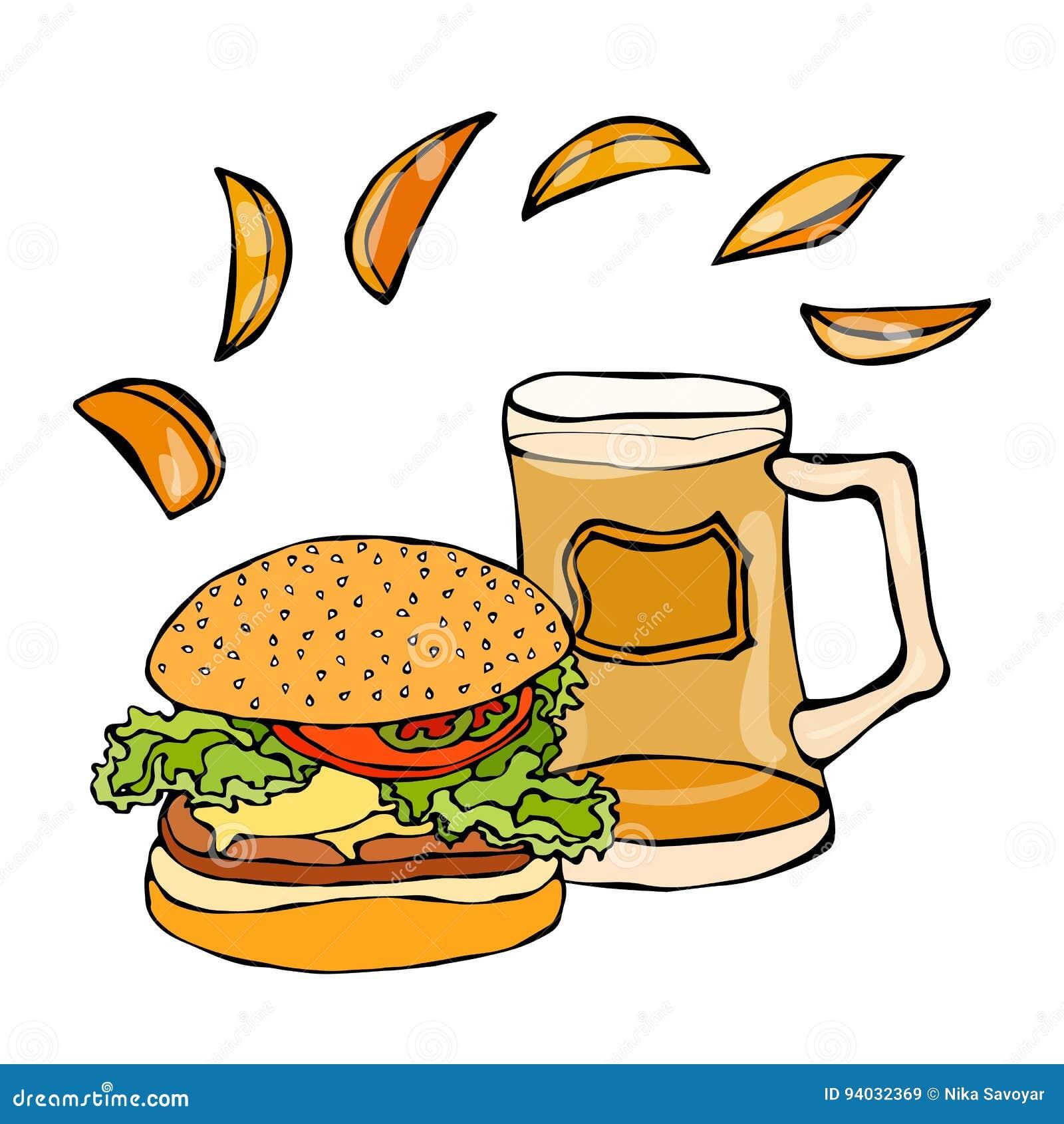 大汉堡包或乳酪汉堡、啤酒杯或者品脱和土豆楔子 汉堡商标 背景查出的白色 现实乱画C