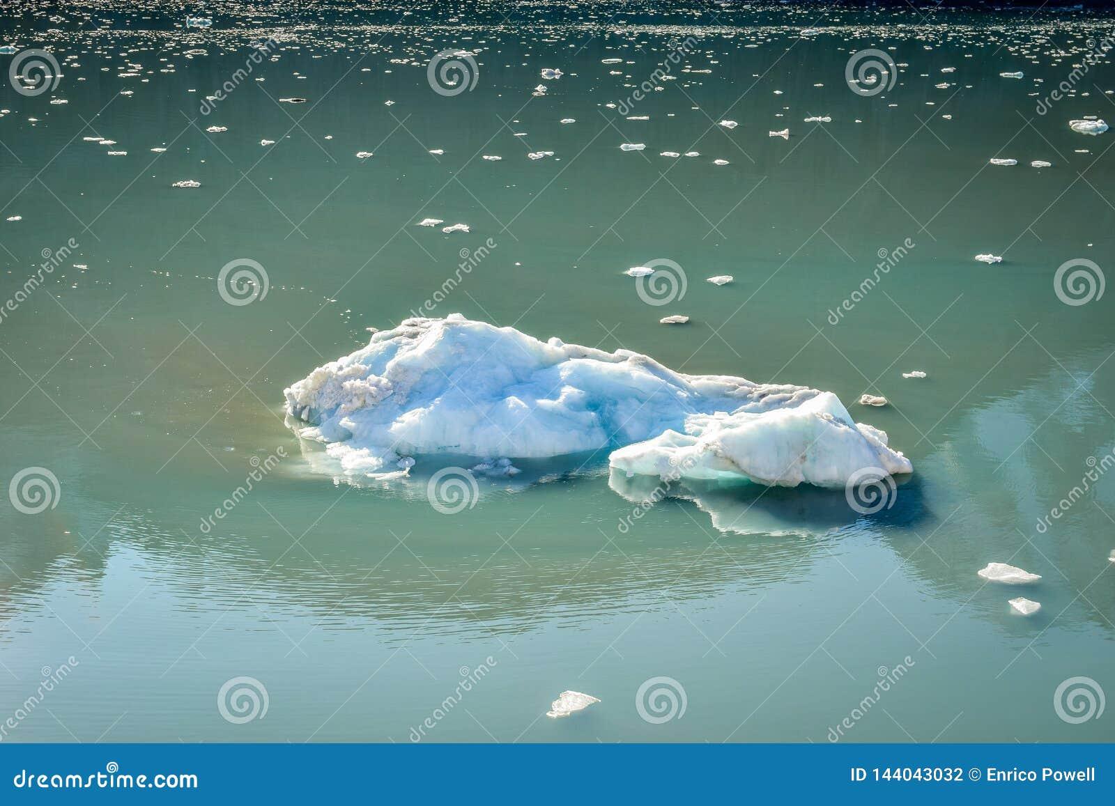 大消失冰山和许多微小的片断漂浮和