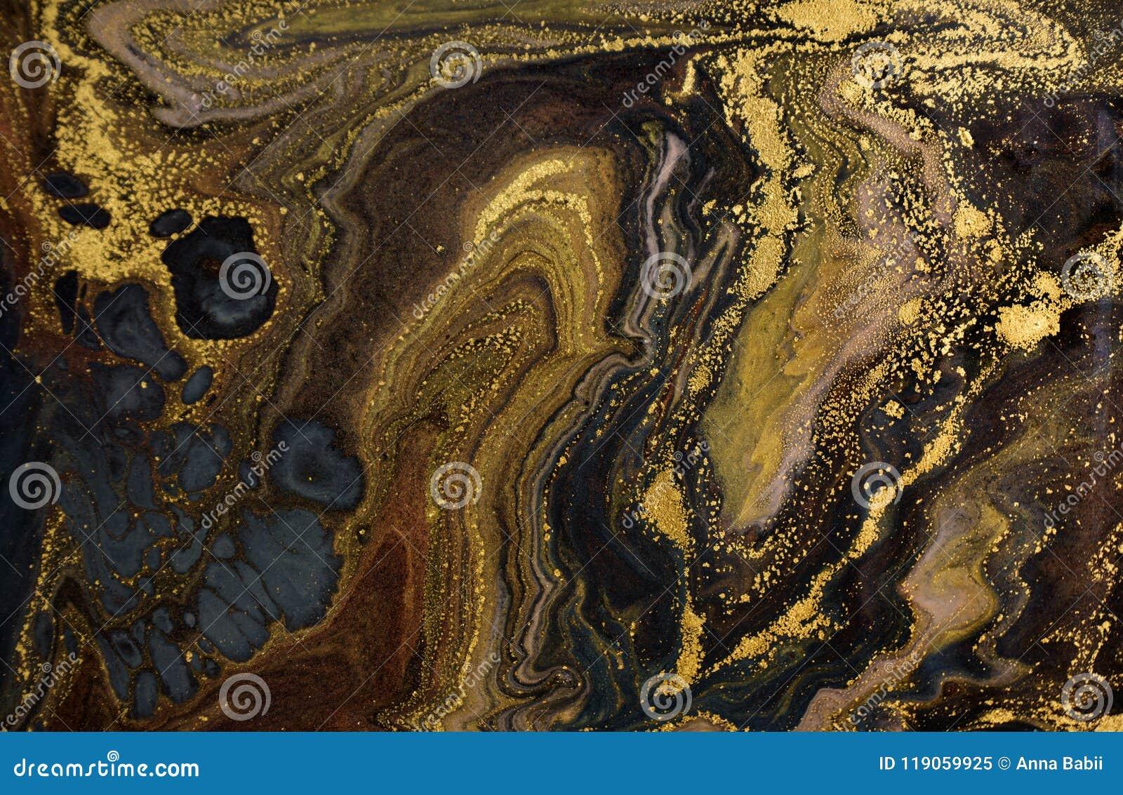 大理石抽象丙烯酸酯的背景 使有大理石花纹的艺术品纹理 玛瑙波纹样式 金粉末