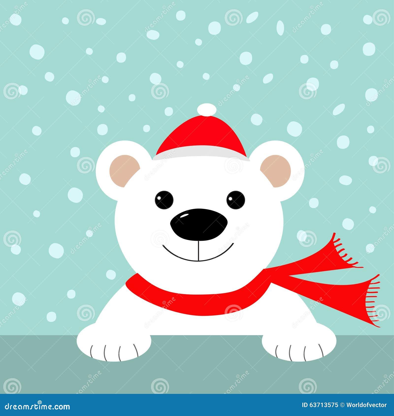 大白色北极熊在圣诞老人帽子和围巾 看板卡快活圣诞节图片