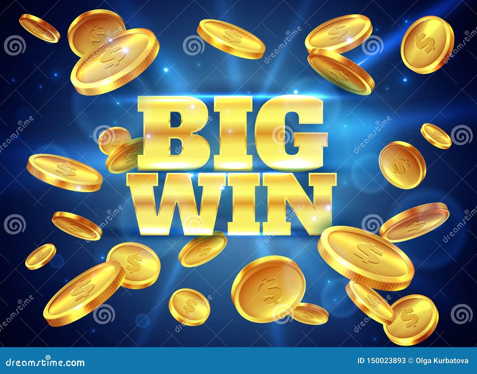 大胜利 与金飞行的硬币的得奖的标签,赢得的比赛 赌博娱乐场现金金钱困境赌博的传染媒介摘要背景