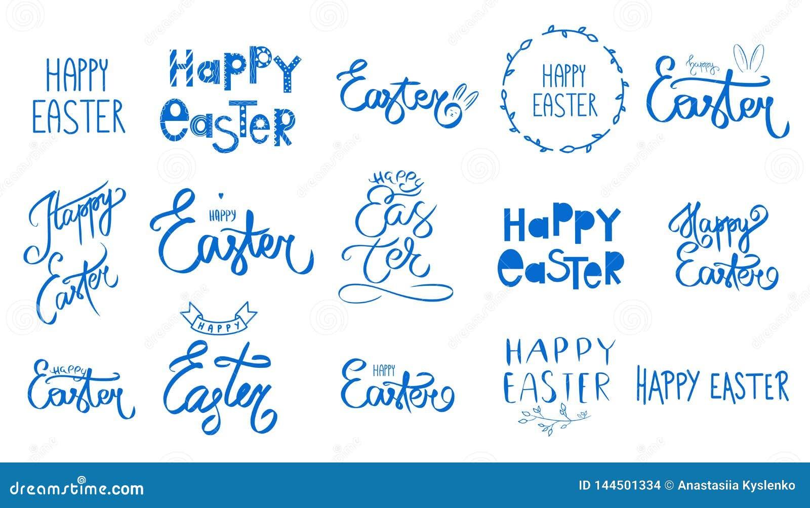 大蓝色复活节集合 汇集愉快的复活节天手写的标志 春天样式 星期天4月假日 o