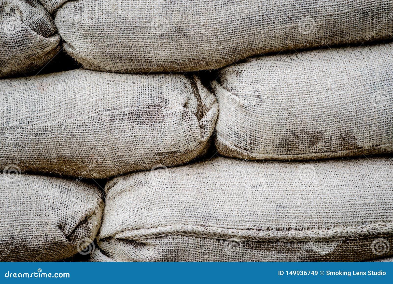 大袋有很多护拦的沙子在尼科西亚,塞浦路斯