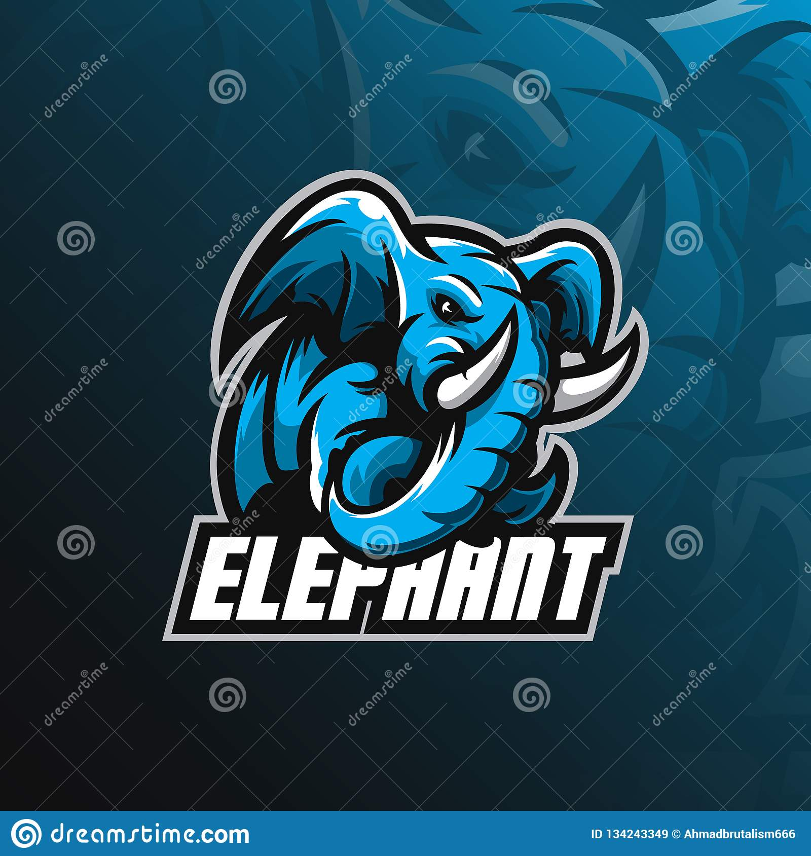 大象吉祥人商标与现代例证概念样式的设计传染媒介徽章、象征和T恤杉打印的 恼怒的大象