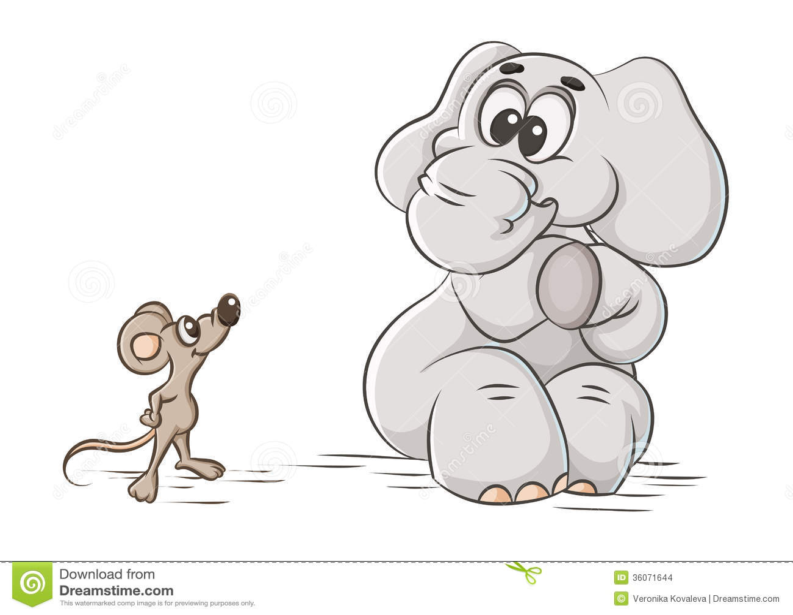 动画片例证怯懦的大象和老鼠.