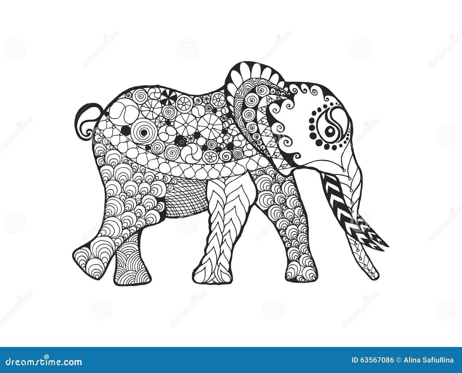 大象 黑白色手拉的乱画动物 种族被仿造的传染媒介 海报的,印刷品图片