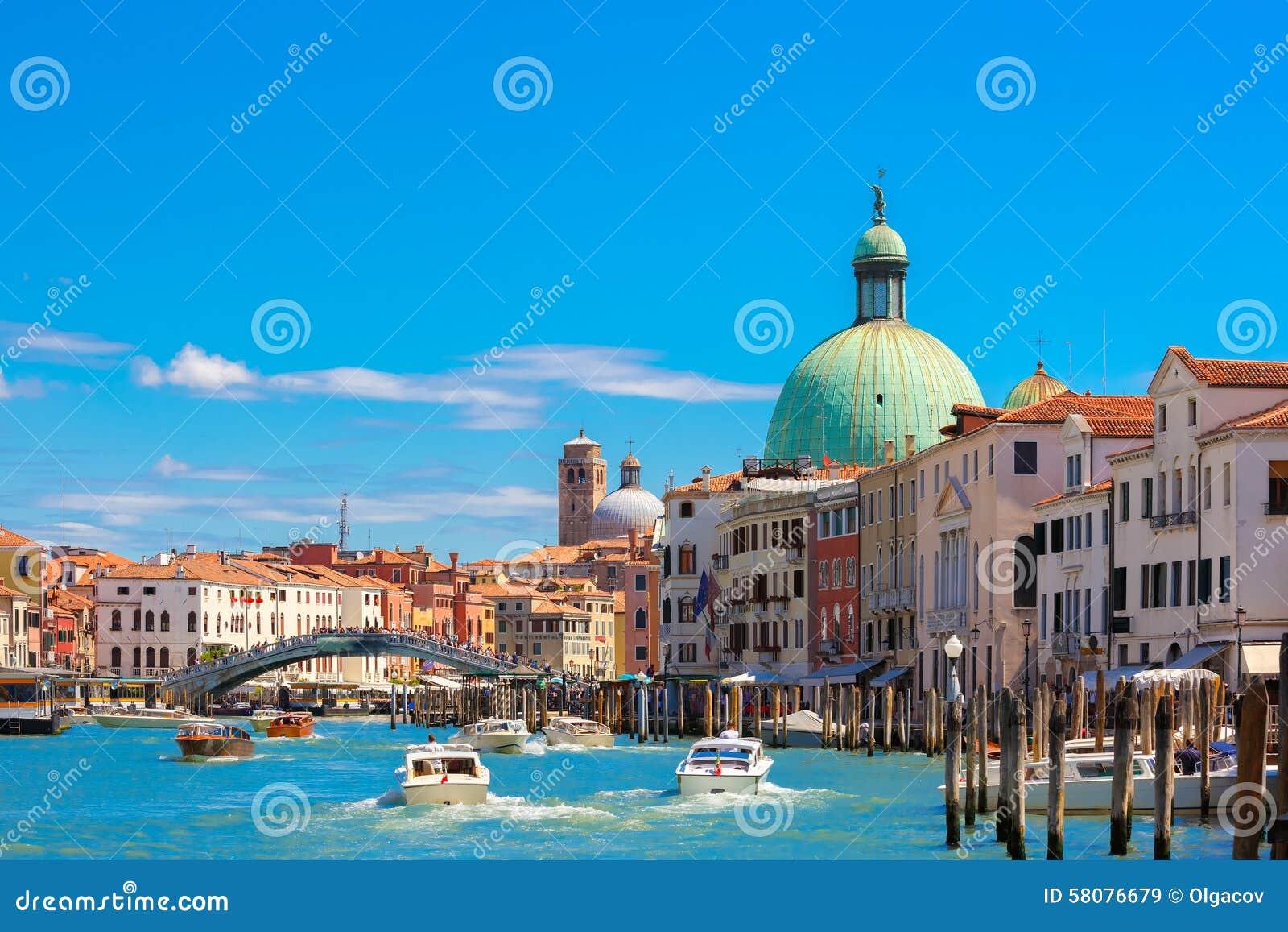 大运河在夏天晴天,威尼斯,意大利