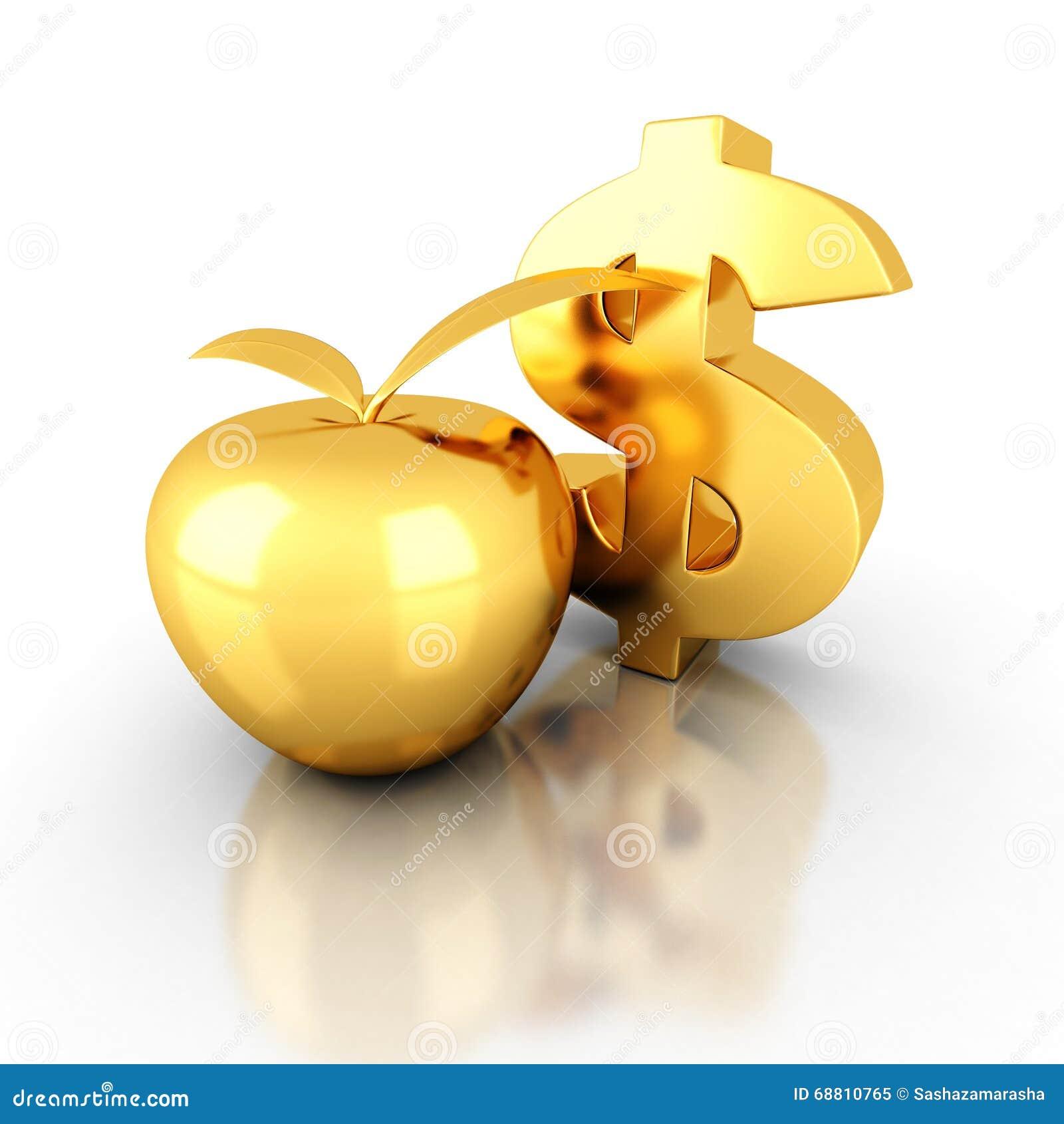 大金黄美元标志用苹果 企业成功财务概念3d回报例证.图片