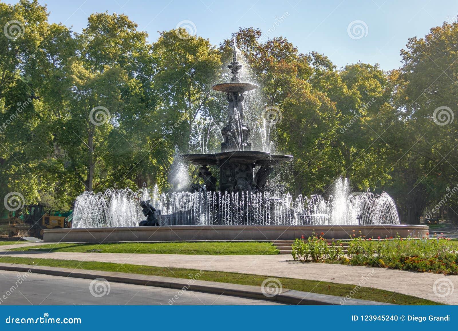 大陆Fuente de在圣马丁将军公园的los Continentes - Mendoza,阿根廷的喷泉
