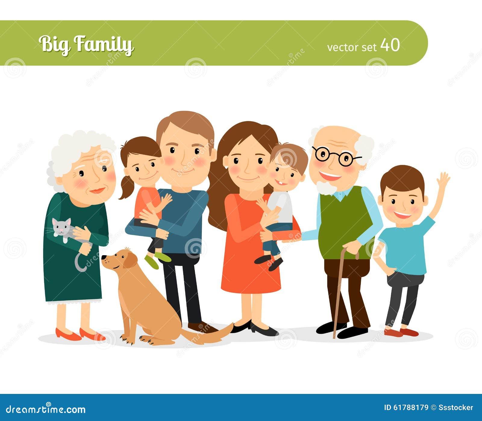 色妈妈和爸爸_大系列纵向 妈妈和爸爸,祖父母,孩子和狗.