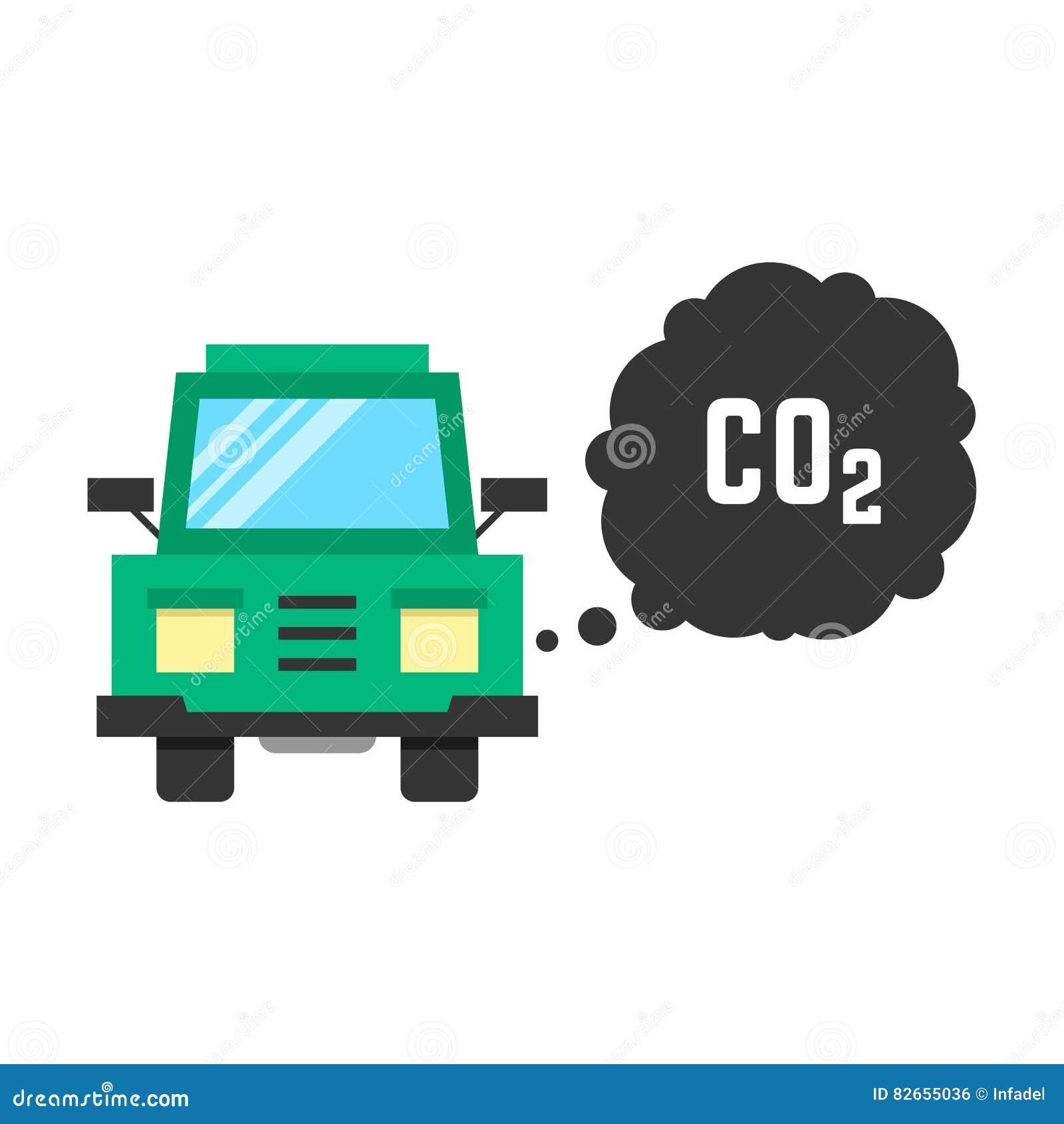 大绿色卡车散发二氧化碳