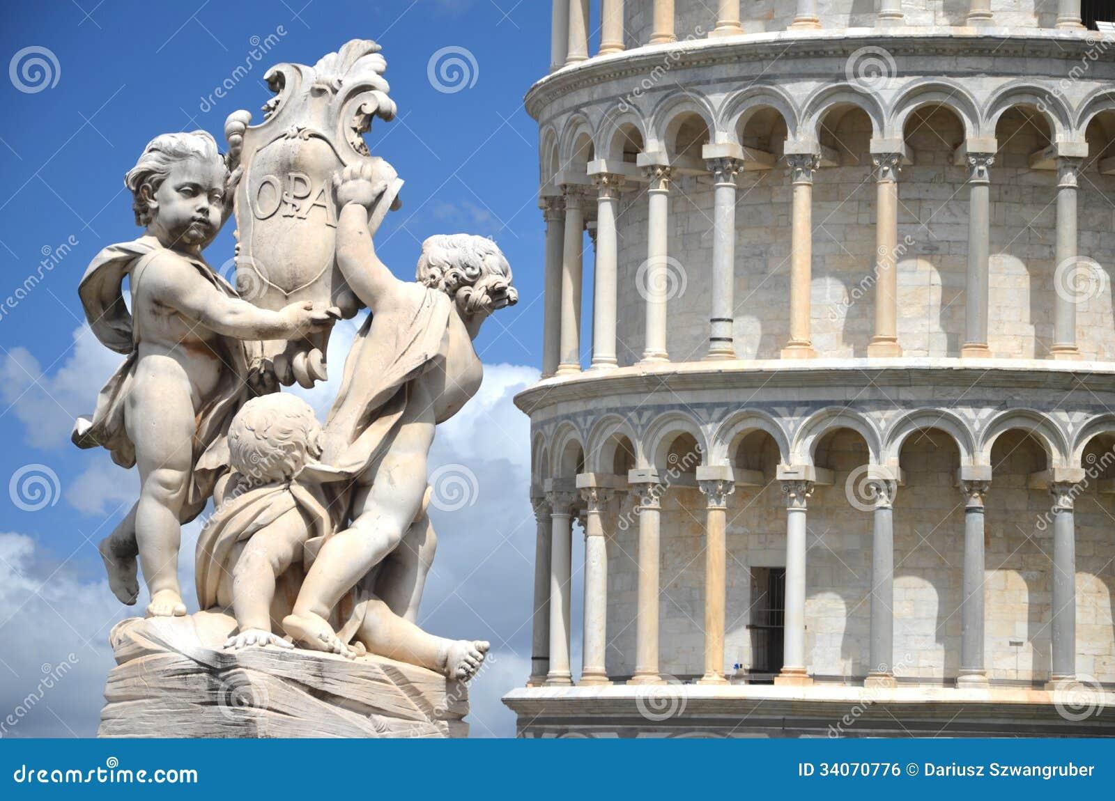 天使雕象在奇迹正方形的在比萨,意大利