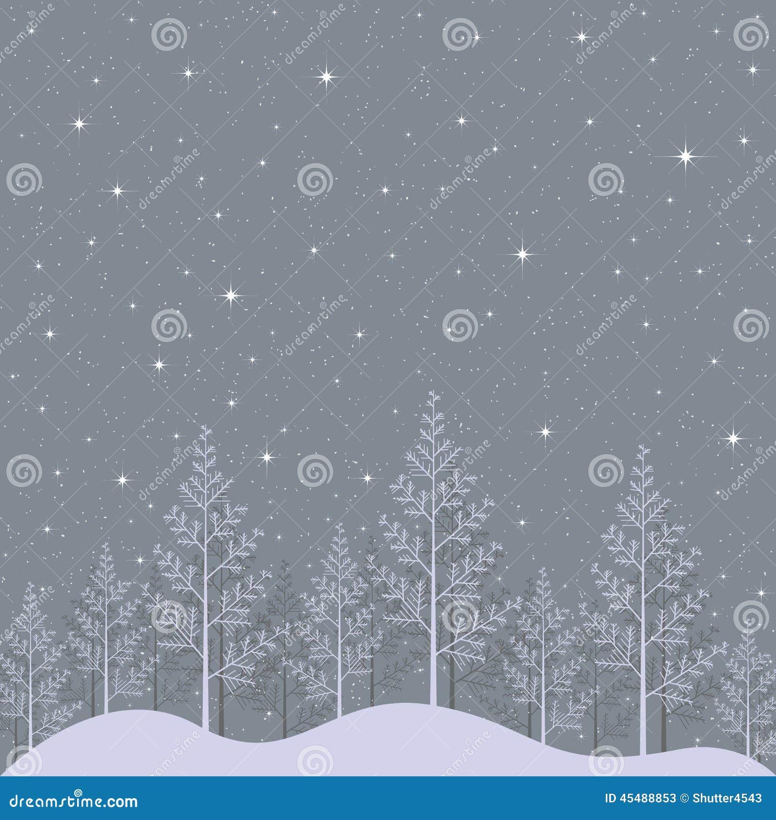 满天星斗的冬天夜风景例证