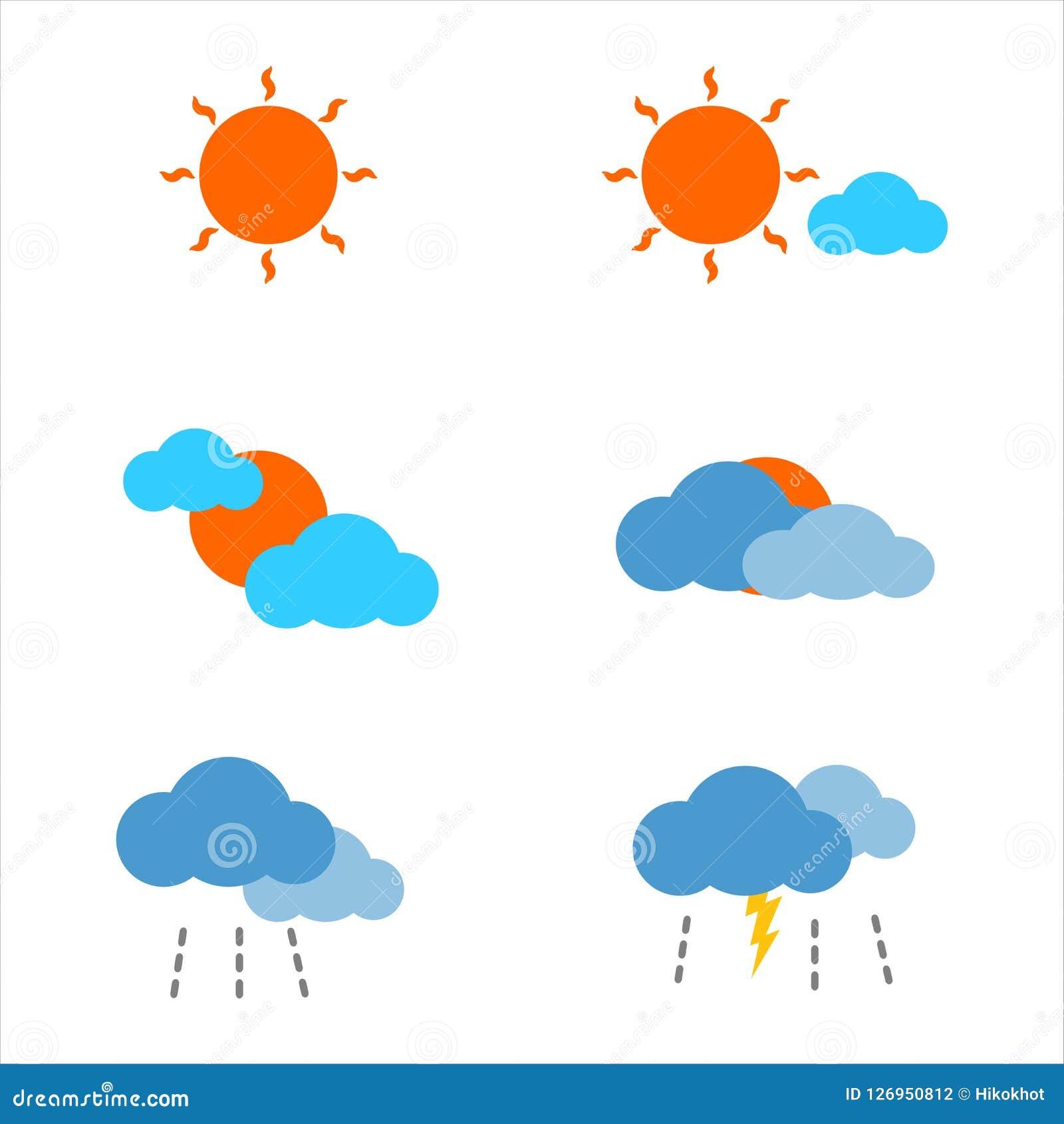 天气预报平的象气候、太阳、云彩、雨和螺栓