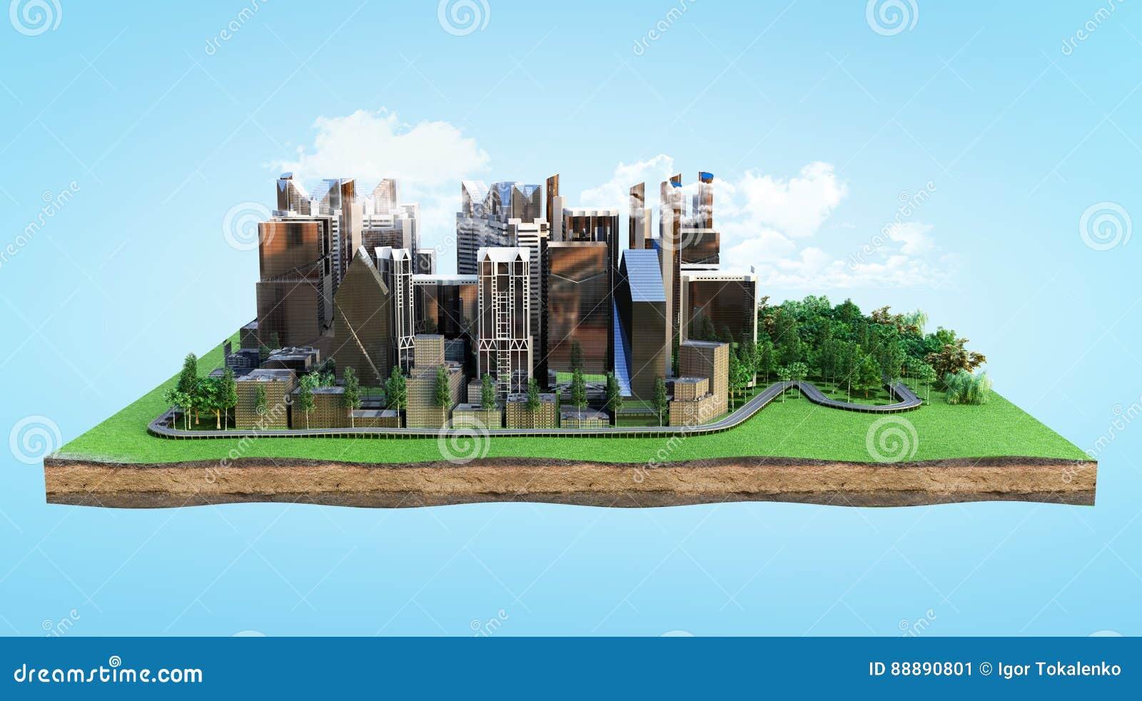 天生被包围的一个现代城市的图象使3d环境美化回报