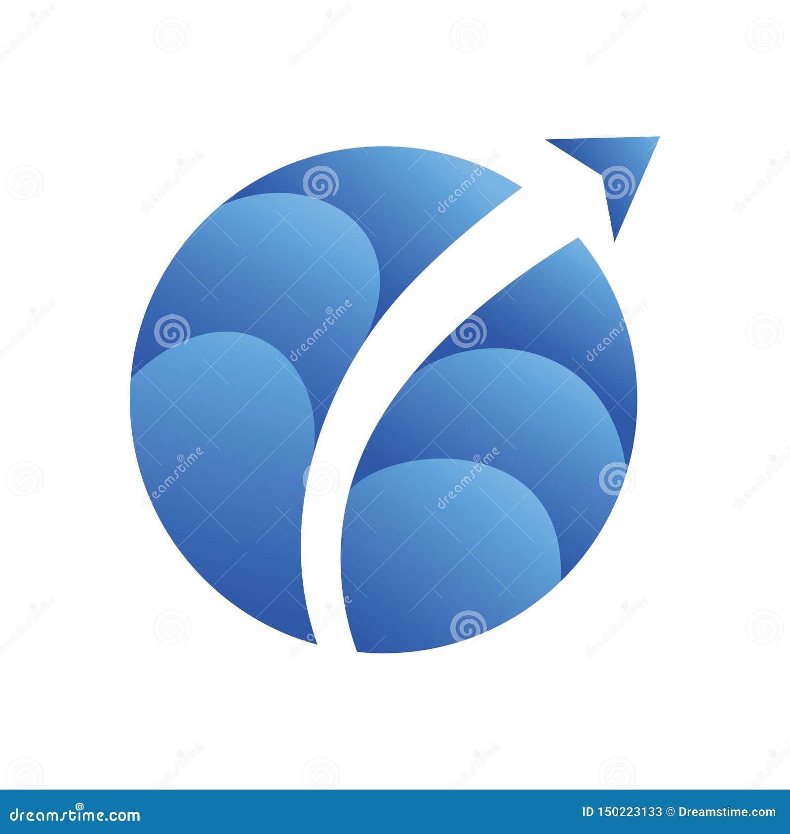 天空空气箭头平面世界商标