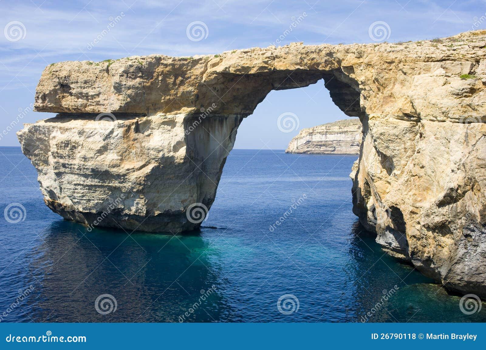 天蓝色的视窗, Gozo海岛,马耳他。