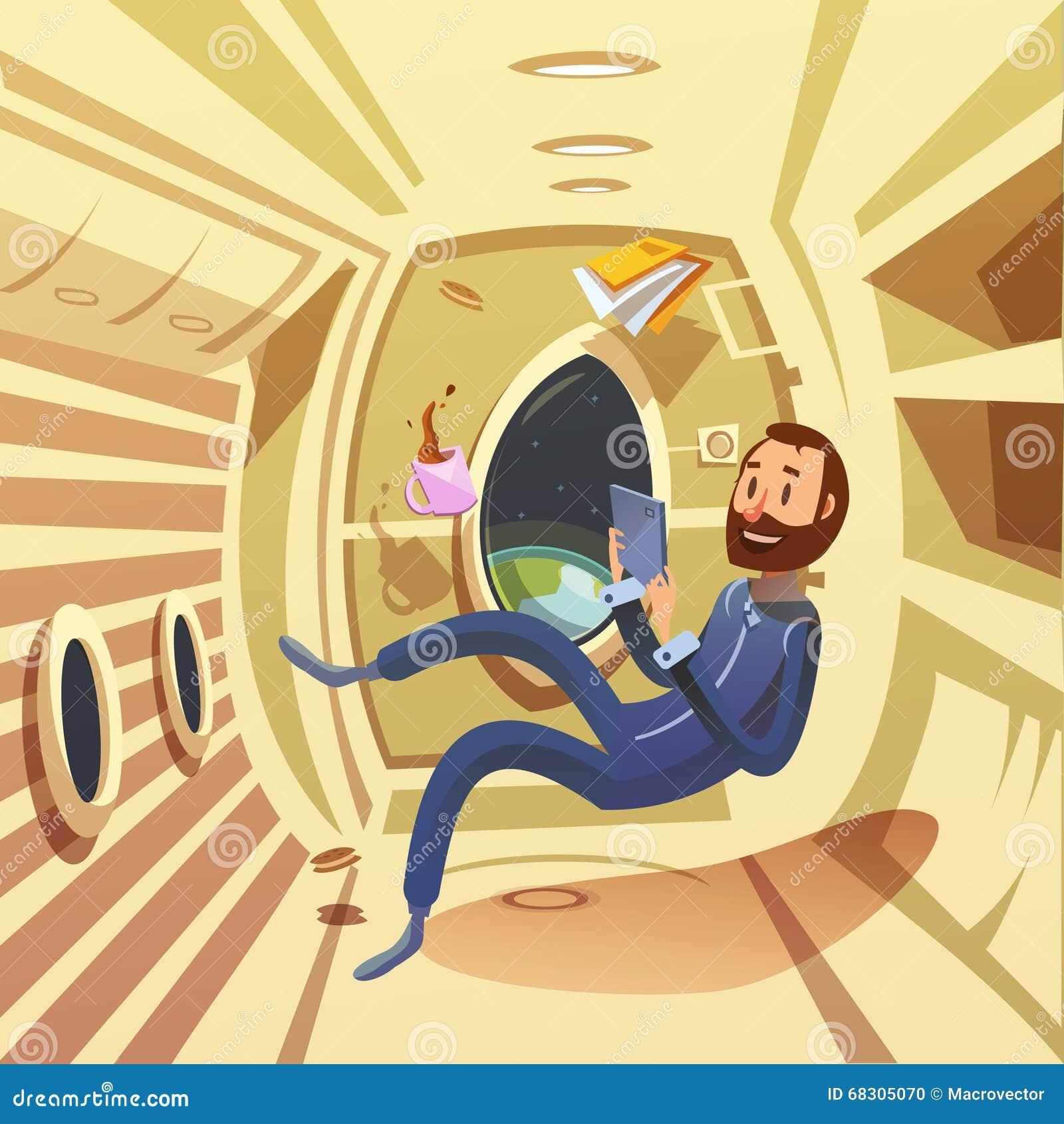 太空飞船内部例证图片
