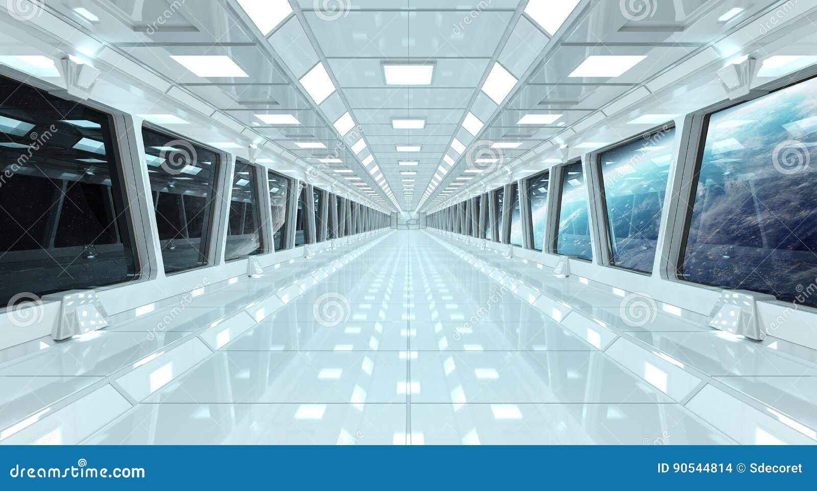 太空飞船走廊有回报el的行星地球3D上的看法