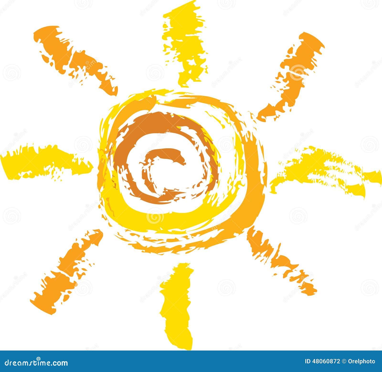 太阳剪影在白色背景的