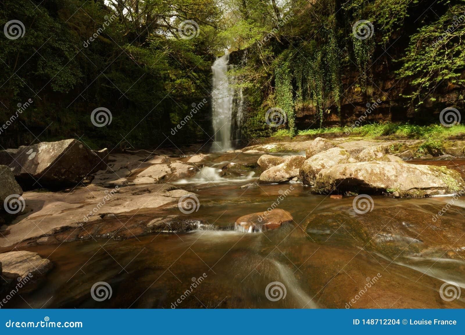 太阳在Blaen y Glyn瀑布发光