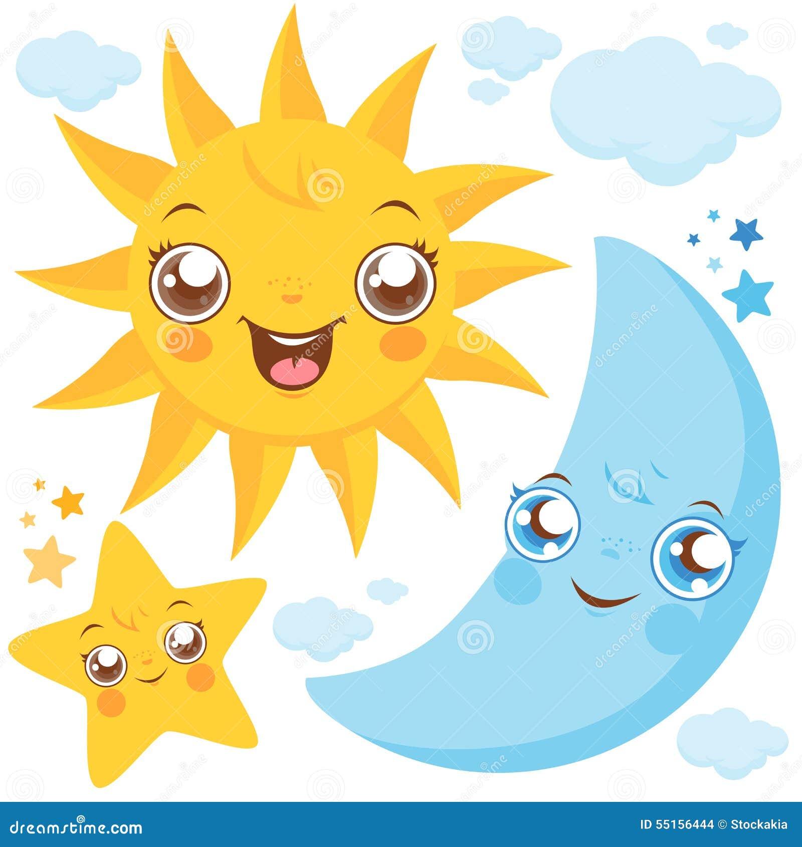 太阳月亮和星形