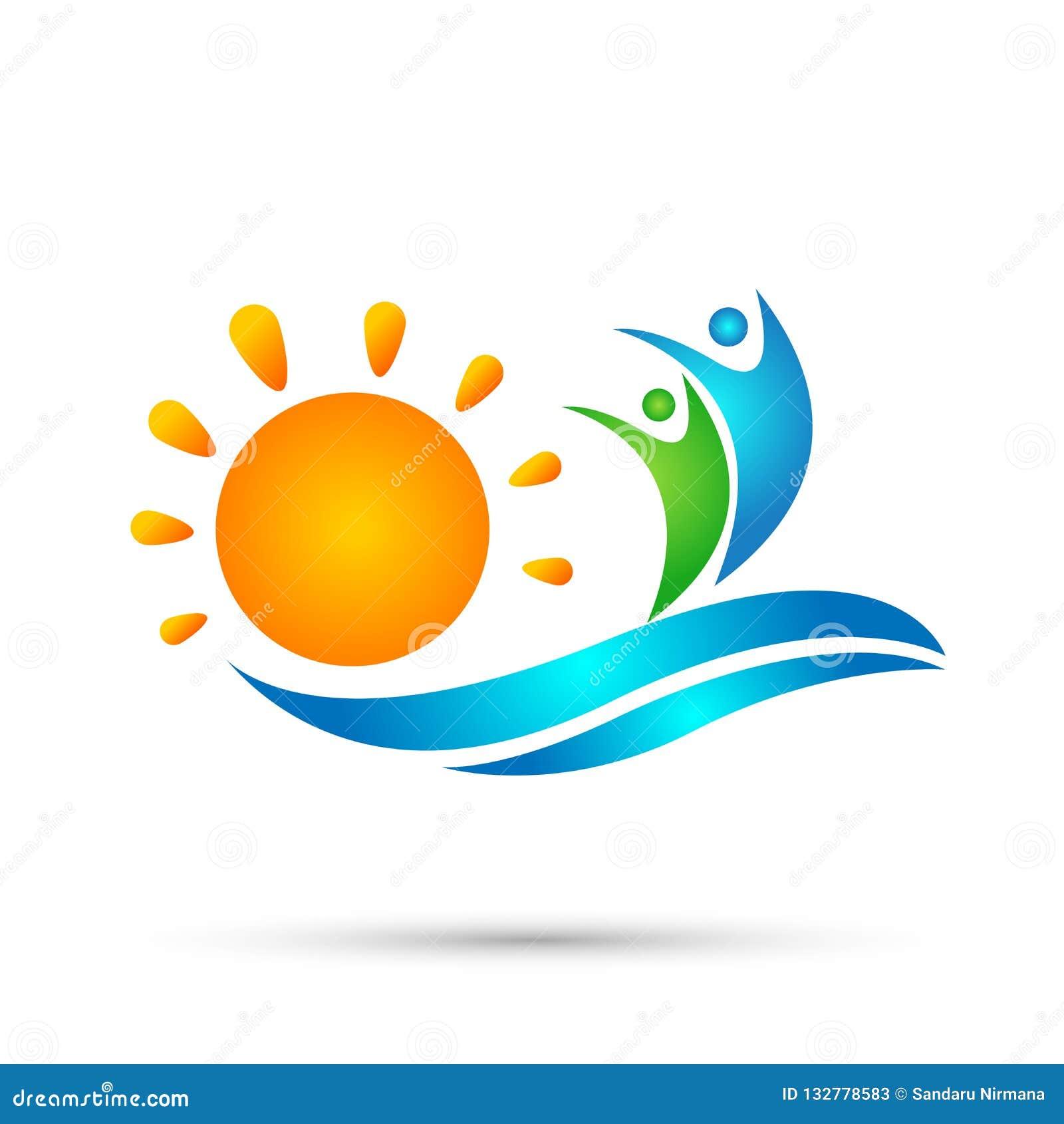 太阳海滩水波人团队工作联合健康庆祝小组作业概念标志象在白色背景的设计传染媒介