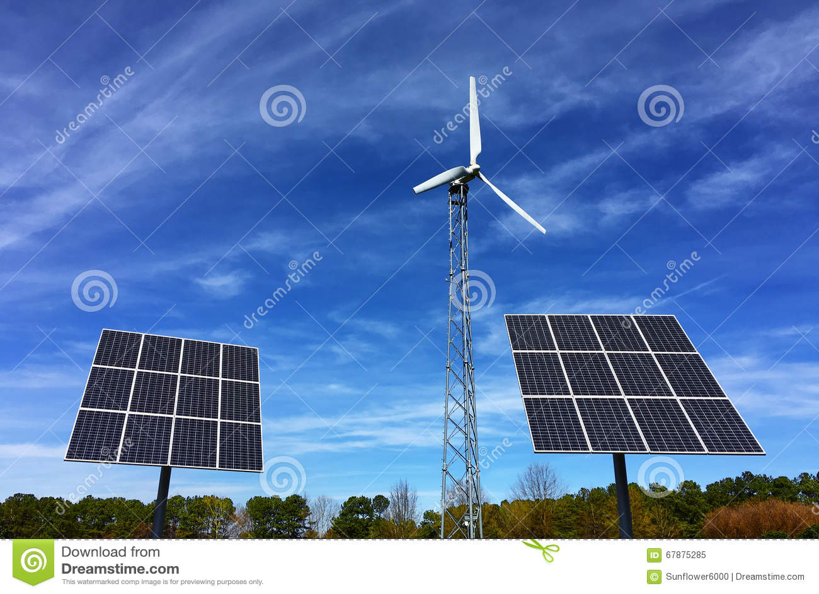 太阳电池板和风能涡轮发电站