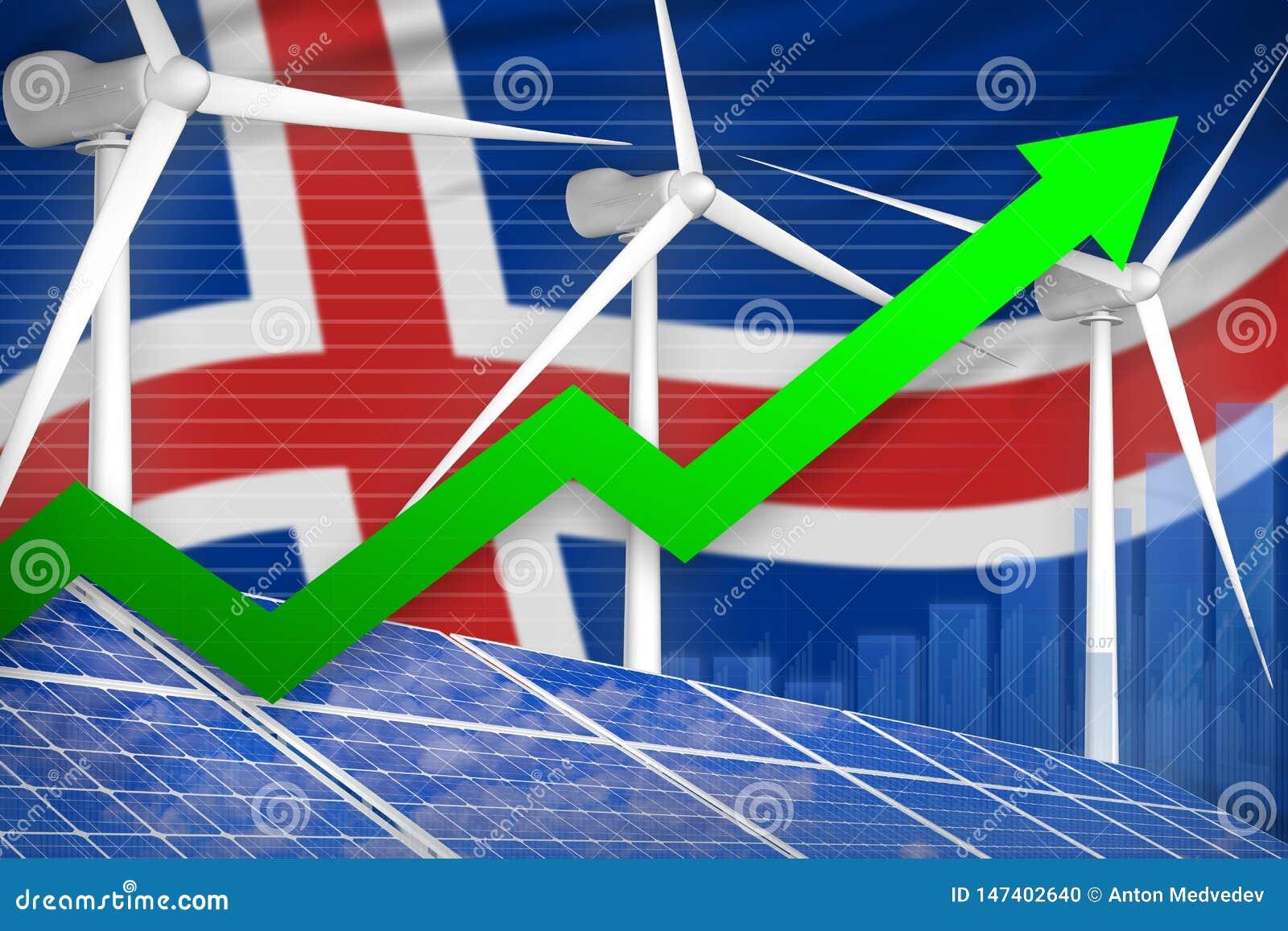 太阳的冰岛和风能上升的图,-现代自然能工业例证的箭头 3d??
