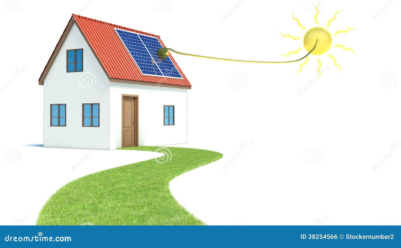 太阳能。有绿草的议院