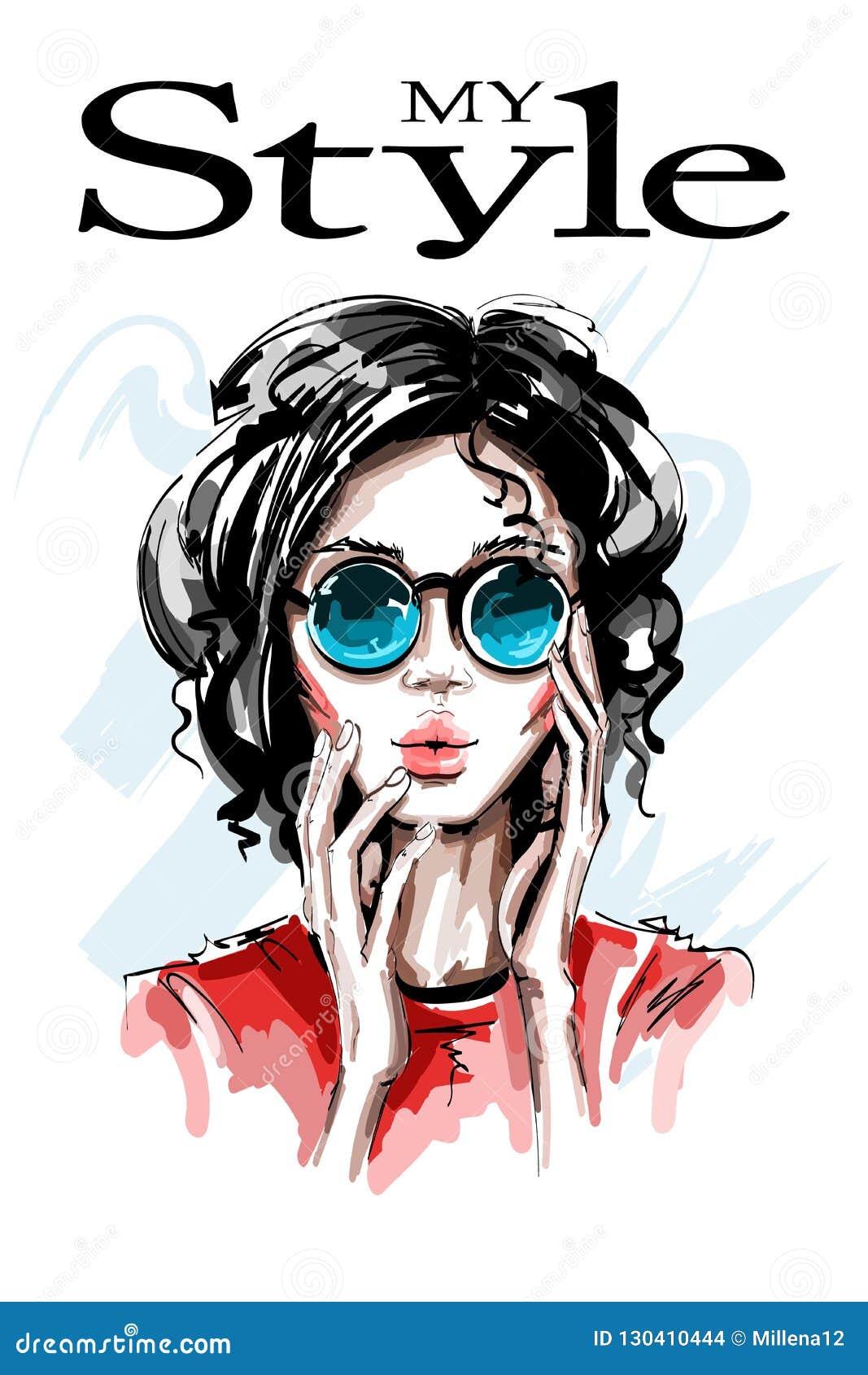 太阳镜的手拉的美丽的少妇 时髦的典雅的女孩 方式纵向妇女