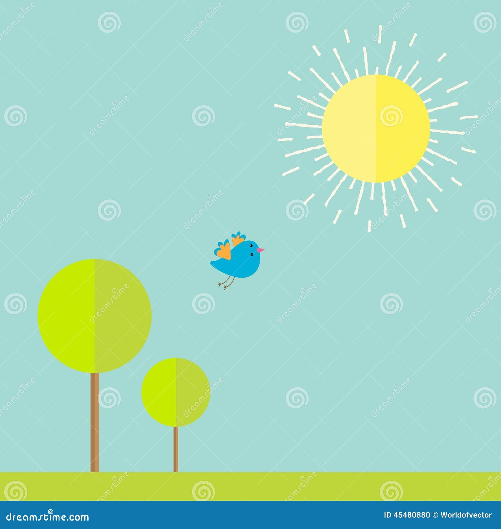 太阳,天空,树,草,鸟 在平的设计样式的夏天风景
