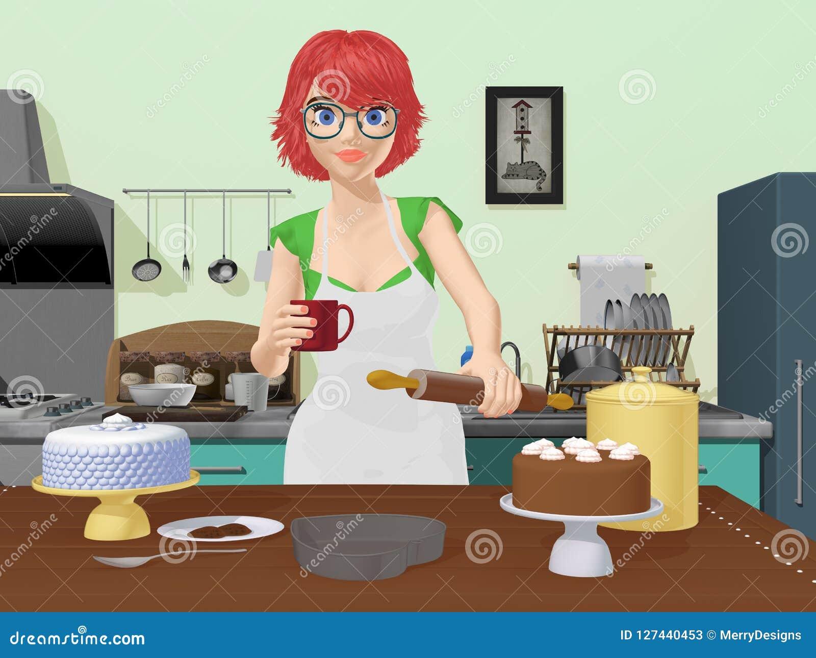 夫人厨师烘烤蛋糕
