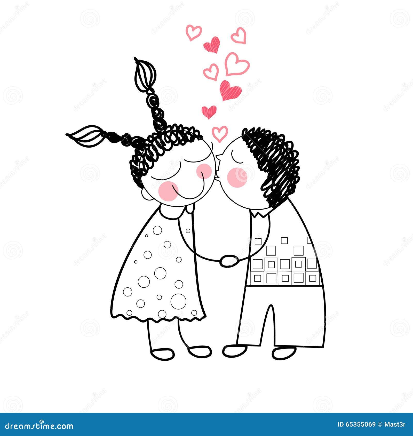 夫妇亲吻握手的红色心脏形状爱画简单的线传染媒介例证.