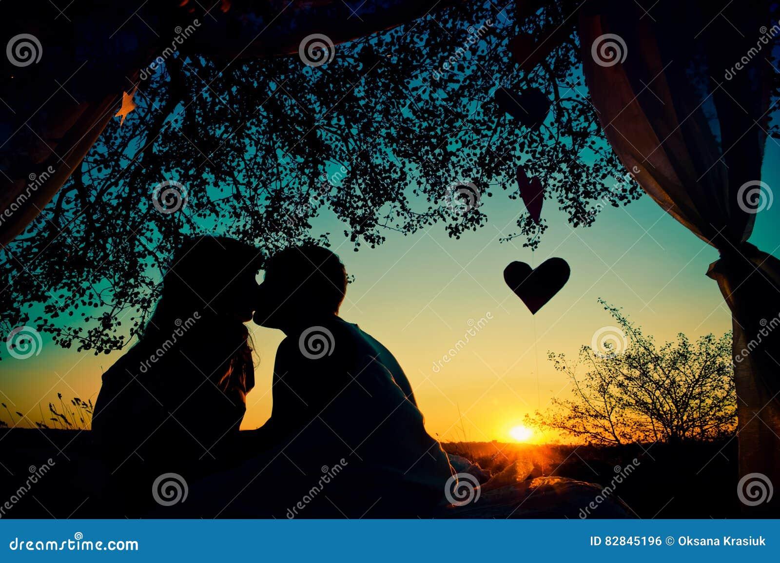 夫妇剪影在亲吻在日落的爱的