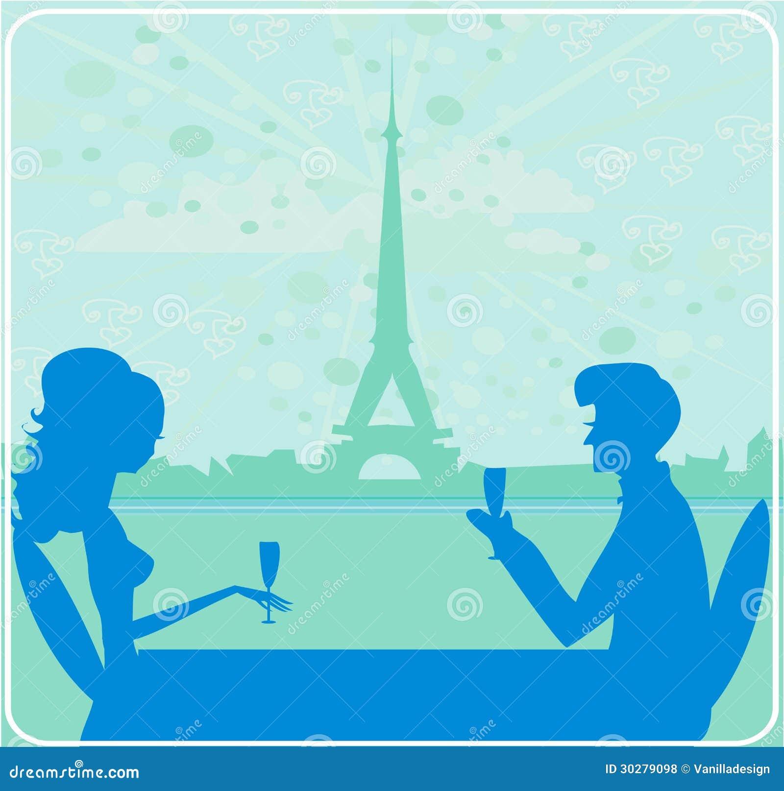 夫妇调情的人和饮料香槟在巴黎