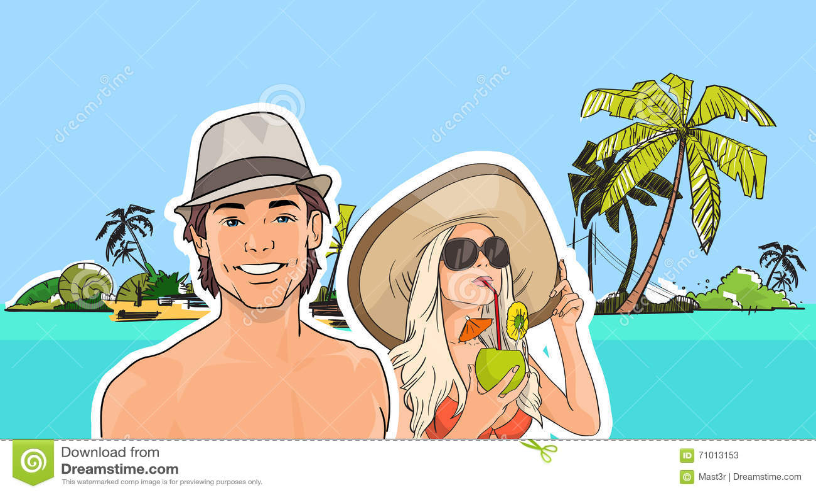 夫妇海滩帽子的,女孩太阳镜饮料鸡尾酒海岸热带暑假人图片