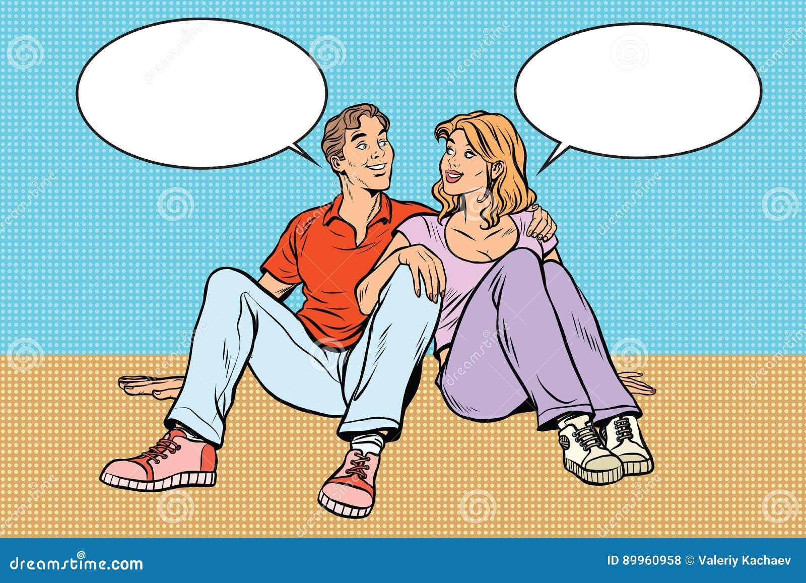 年轻夫妇男人和妇女谈话